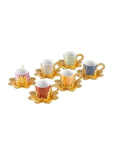 ÇIRPAN EV Altın 6 Renk Çiçek Desen 6'Lı Türk Kahvesi Fincanı Altın